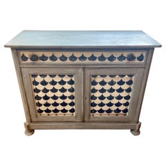 18th C Italian Neoclassical Black & White Painted Chest