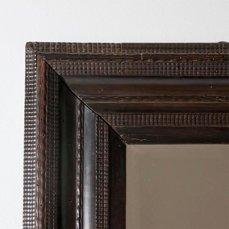 Renaissance 18th Century Italian Walnut Ebonized Mirror with Finely Carved Guilloche Detail