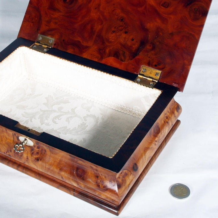 Baroque Lombard Jewel Box in Burl Walnut, with Precious Inlays of Fruit Woods For Sale