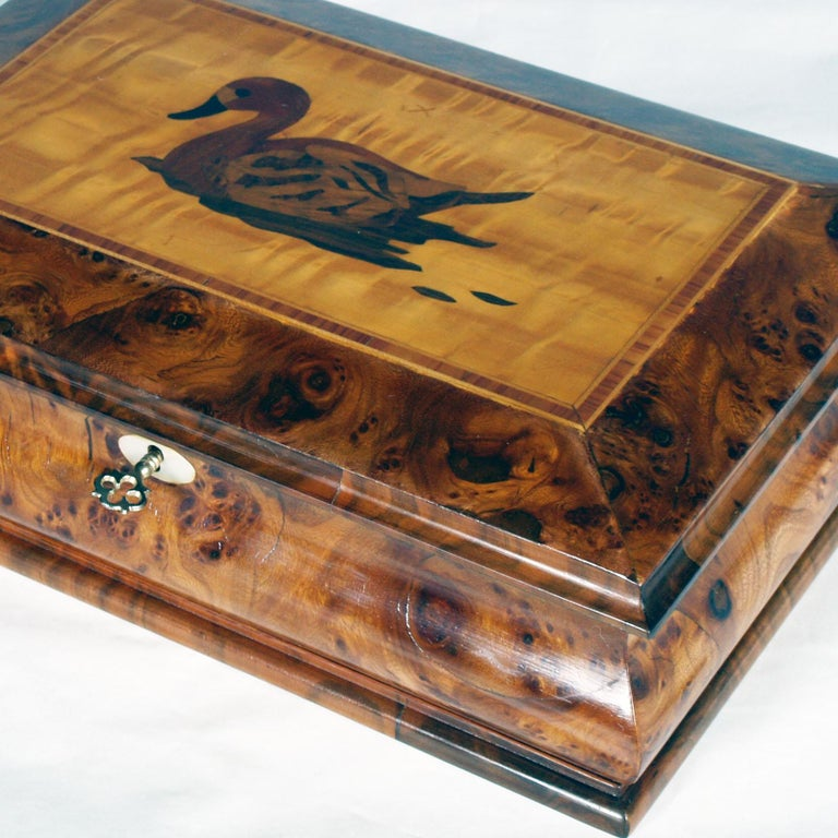 Italian Lombard Jewel Box in Burl Walnut, with Precious Inlays of Fruit Woods For Sale