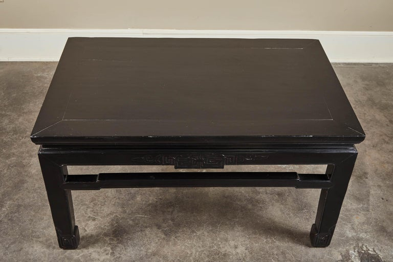 Wood 18th Century Low Black Lacquer Kang Table For Sale
