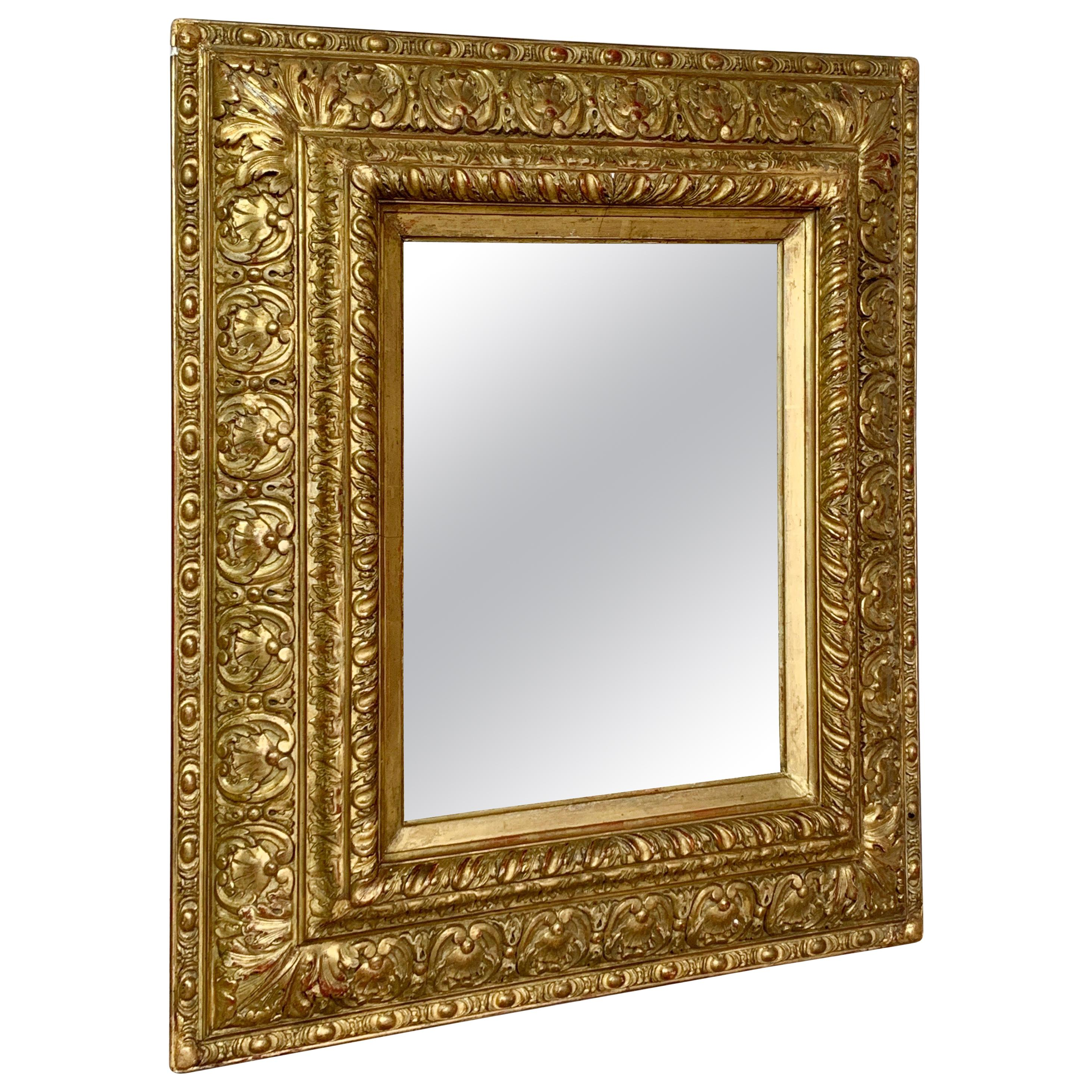 18th C, Ornate Gilt French Carved Mirror
