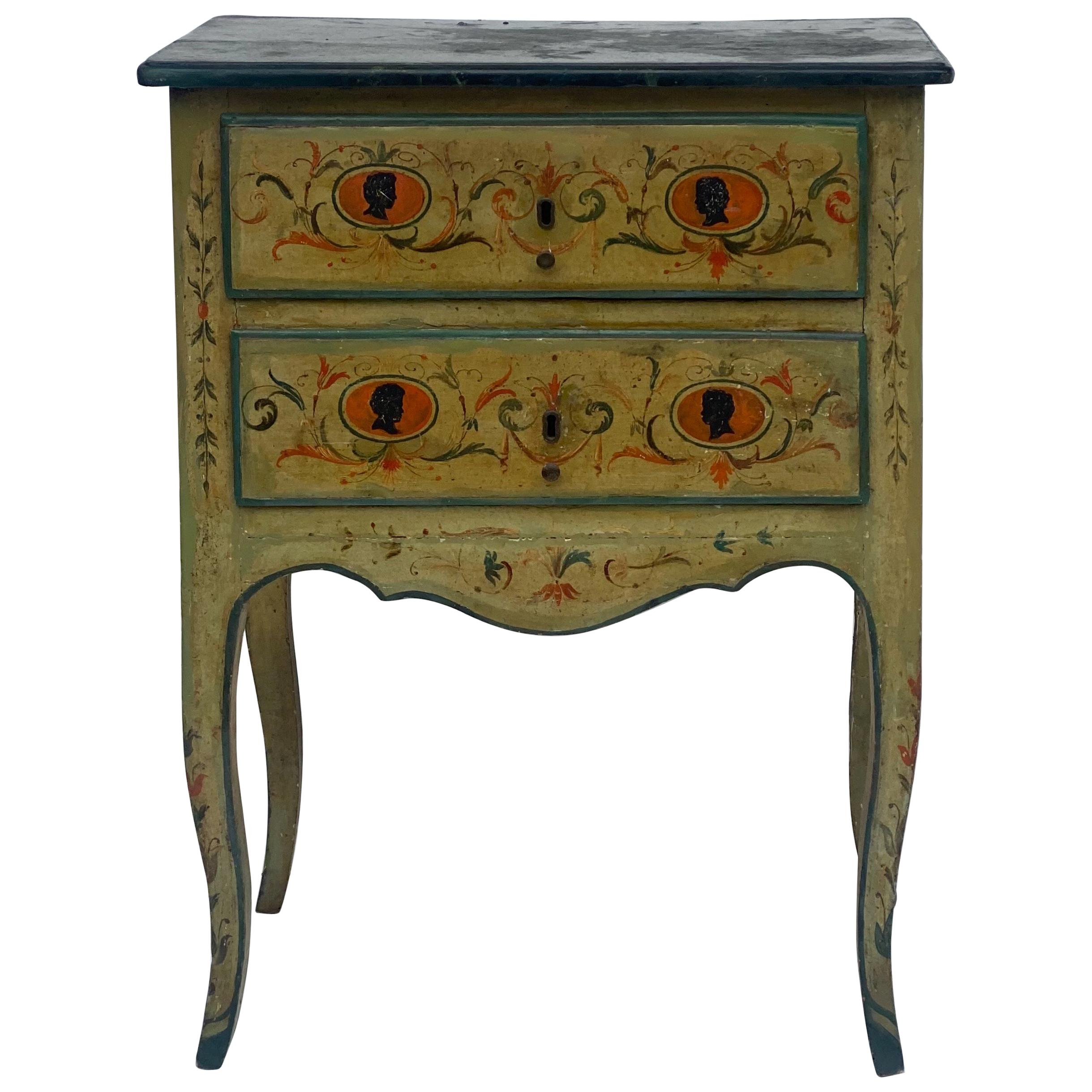 Petite Venetian Neoclassical Style Painted Commode with Faux Marble Top