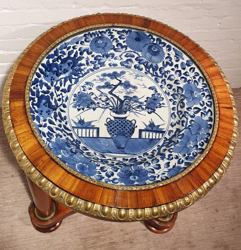 19th Century 18th Century Porcelain Dish with Rosewood Display Table For Sale