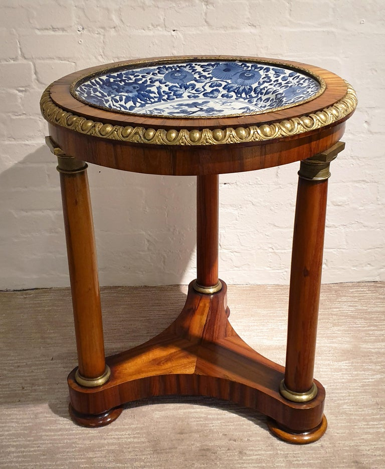 18th Century Porcelain Dish with Rosewood Display Table For Sale 3