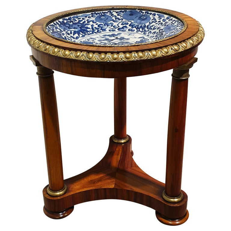 18th Century Porcelain Dish with Rosewood Display Table For Sale