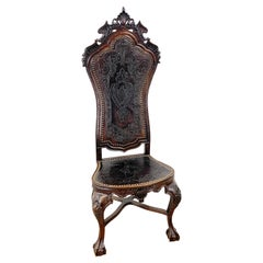 18th C Portuguese Carved Mahogany and Embossed Leather Highback Chair