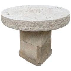 Round Hand Carved Stone Antique Garden Coffee Outdoor Fun Table Farm, LA