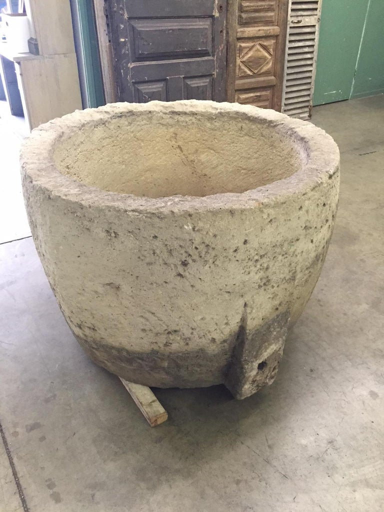 Hand-Carved 18th C. Round Hand Carved Water Fountain Basin Container Trough Planter Vessel  For Sale