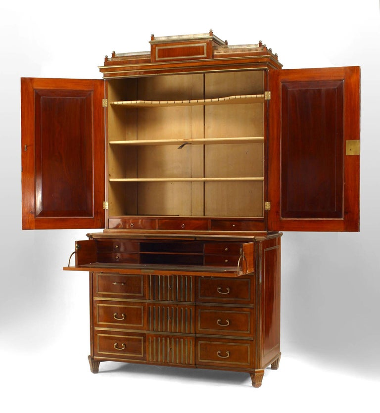 Empire 18th c. Russian Brass-Trimmed Mahogany Secretary Bookcase For Sale