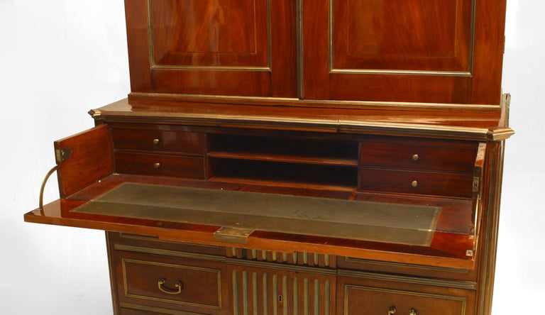 18th Century 18th c. Russian Brass-Trimmed Mahogany Secretary Bookcase For Sale