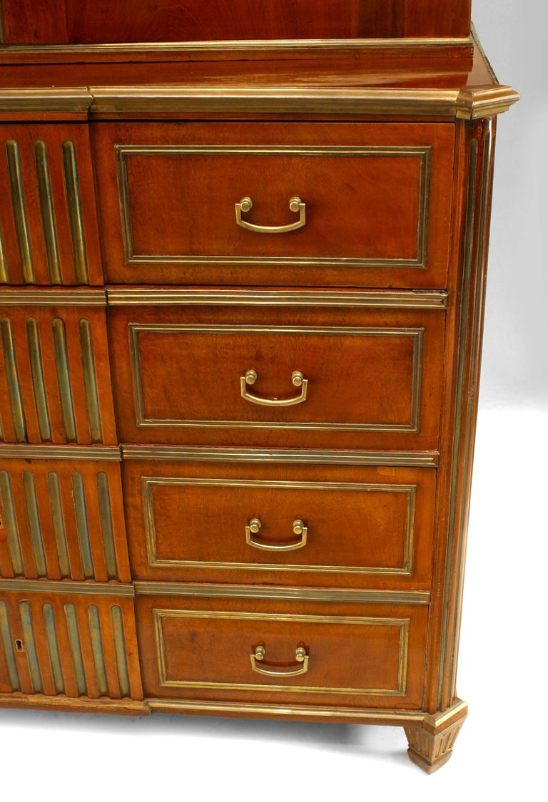 18th c. Russian Brass-Trimmed Mahogany Secretary Bookcase For Sale 1