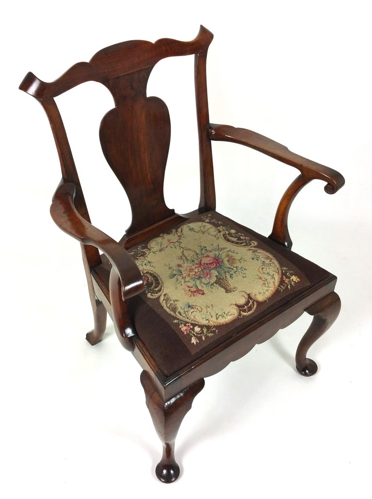 18th Century Solid Walnut Splat Back Elbow Chair For Sale 4