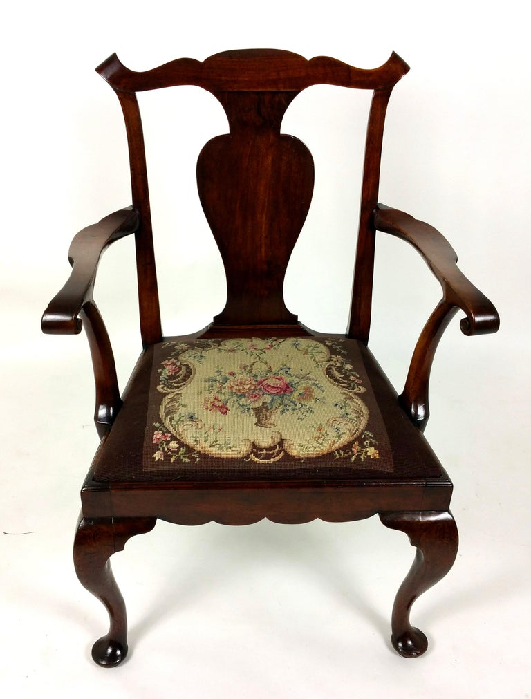 Hand-Crafted 18th Century Solid Walnut Splat Back Elbow Chair For Sale