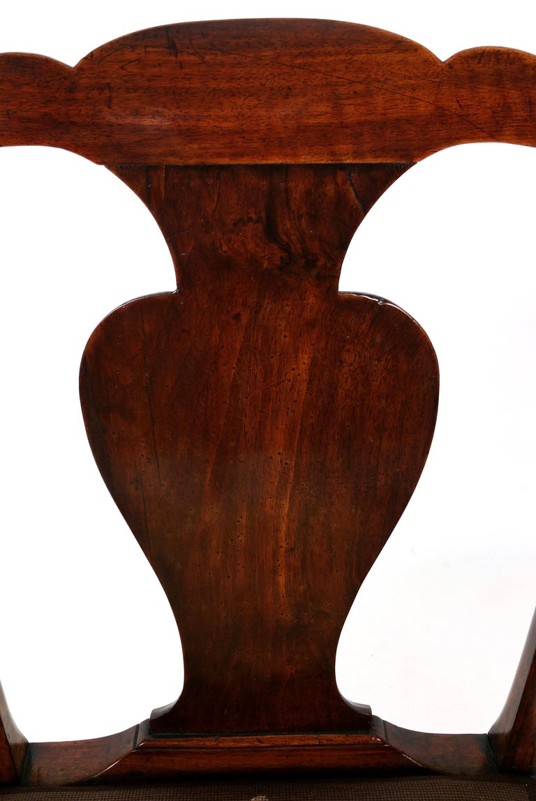18th Century Solid Walnut Splat Back Elbow Chair For Sale 1