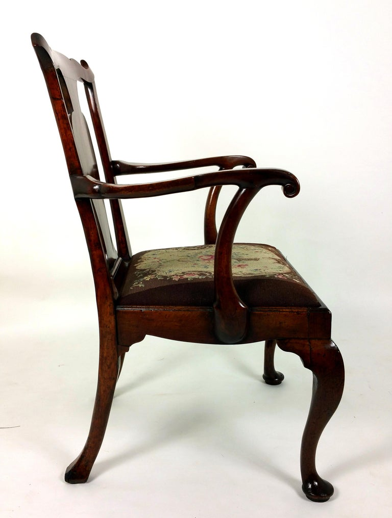 18th Century Solid Walnut Splat Back Elbow Chair For Sale 2