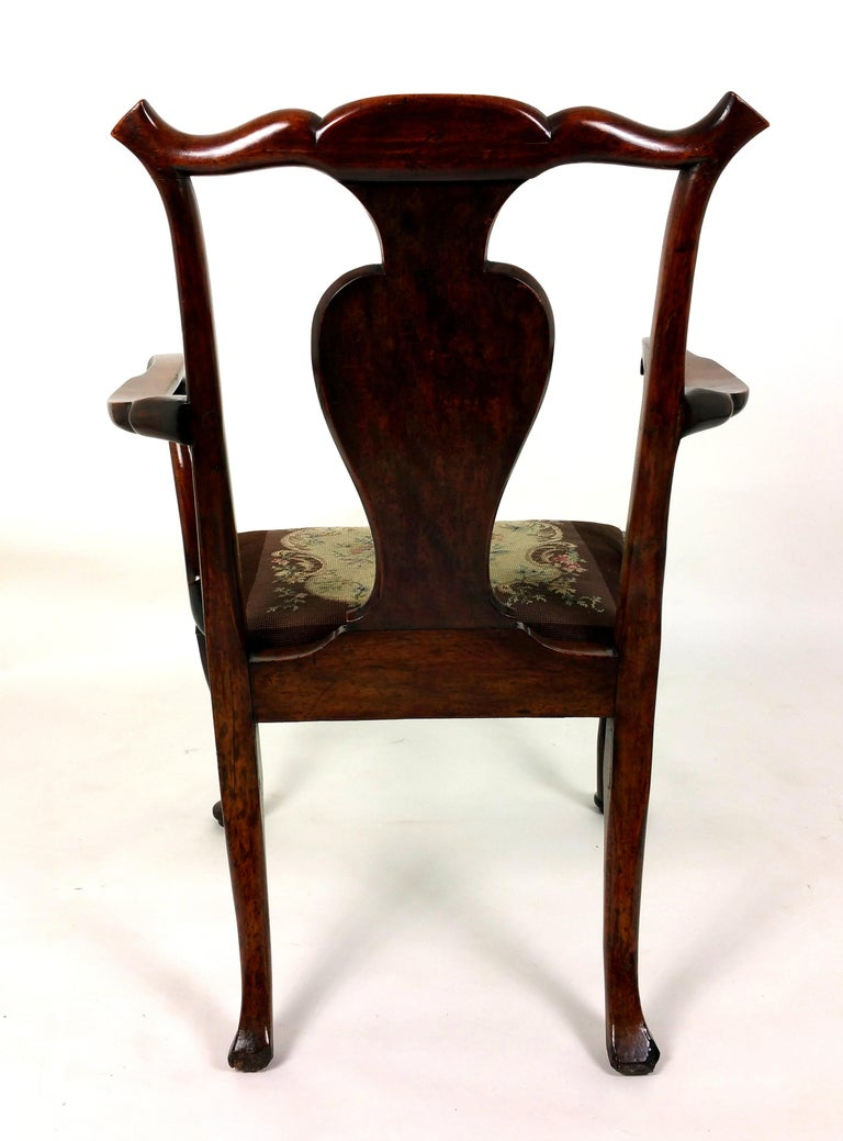 18th Century Solid Walnut Splat Back Elbow Chair For Sale 3