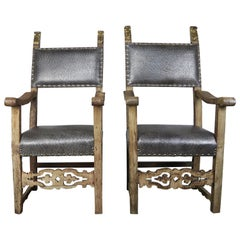 18th Century Spanish Armchairs with Giltwood Finials, a Pair