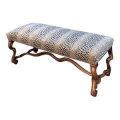 Carved Italian Walnut Bench w Clarence House Cheetah Velvet