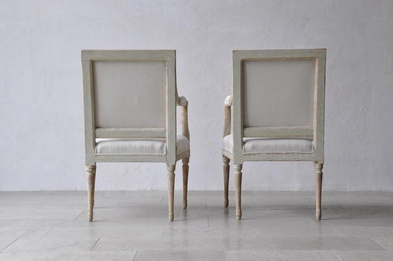 European 18th Century Swedish Gustavian Armchairs in Original Paint For Sale