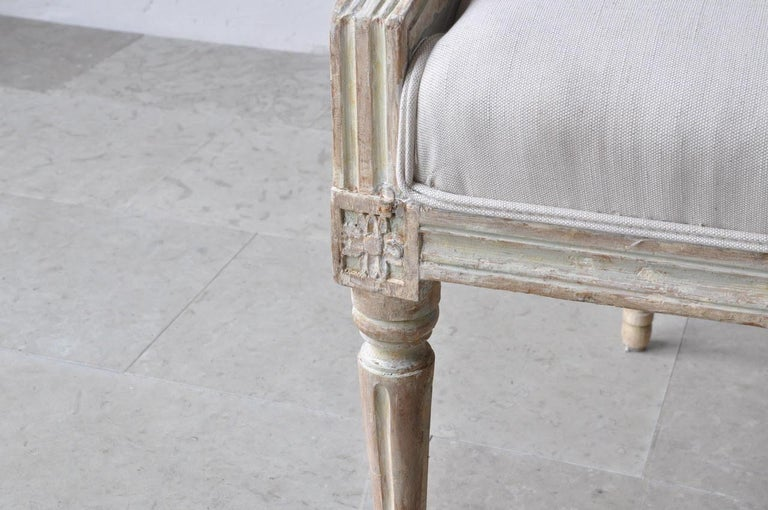 18th Century and Earlier 18th Century Swedish Gustavian Armchairs in Original Paint For Sale