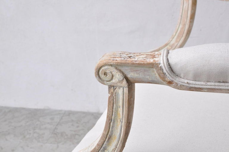 18th Century Swedish Gustavian Armchairs in Original Paint For Sale 1