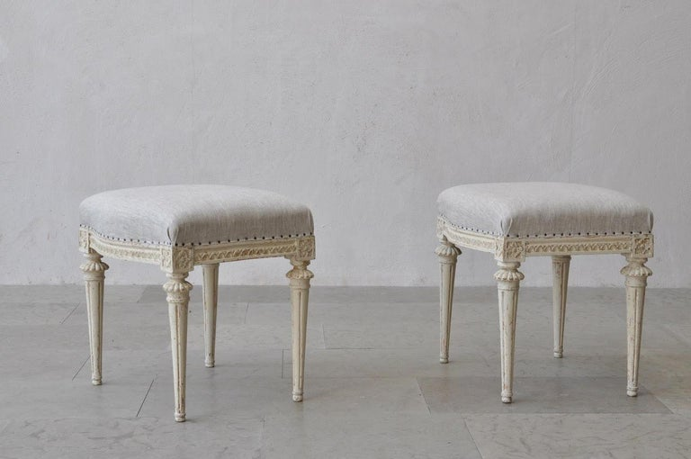 18th Century Swedish Gustavian Footstools in Original Paint by Melchior Lundberg In Excellent Condition For Sale In Wichita, KS