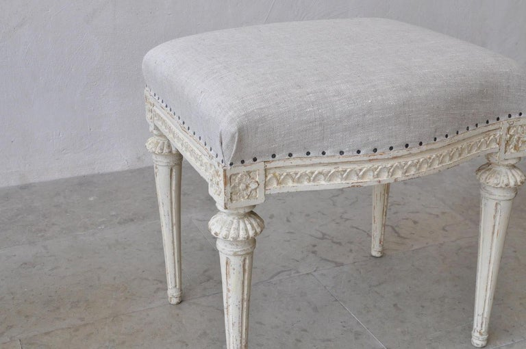 18th Century and Earlier 18th Century Swedish Gustavian Footstools in Original Paint by Melchior Lundberg For Sale