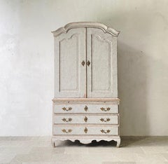 18th c. Swedish Rococo Period Two-Part Painted Linen Press Cabinet