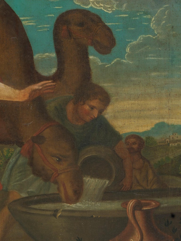 18th Century, Willem Muys, Rebekka and Eliëzer at the Water Source, Oil on In Good Condition For Sale In Leuven , BE