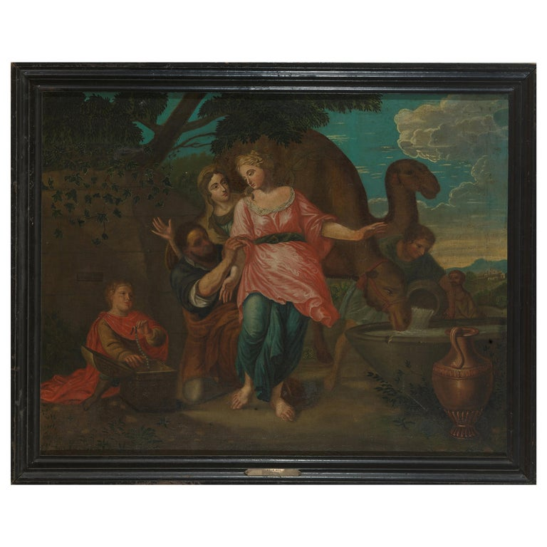 18th Century, Willem Muys, Rebekka and Eliëzer at the Water Source, Oil on For Sale