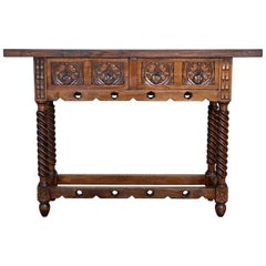 18th Carved Two-Drawer Baroque Spanish Walnut Console Table with Iron Hardware