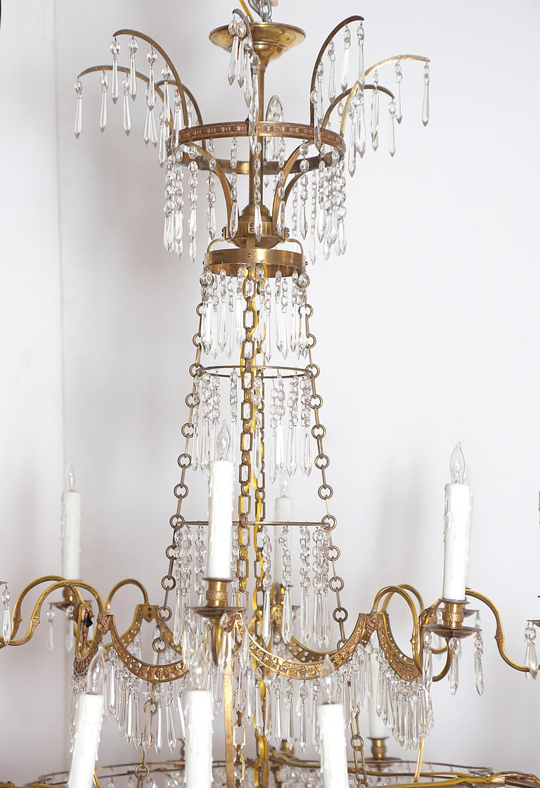 Neoclassical 18th Century 20-Light Neoclassic Chandelier, German Probably Werner & Mieth For Sale