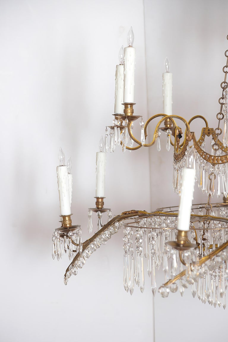 Bronze 18th Century 20-Light Neoclassic Chandelier, German Probably Werner & Mieth For Sale
