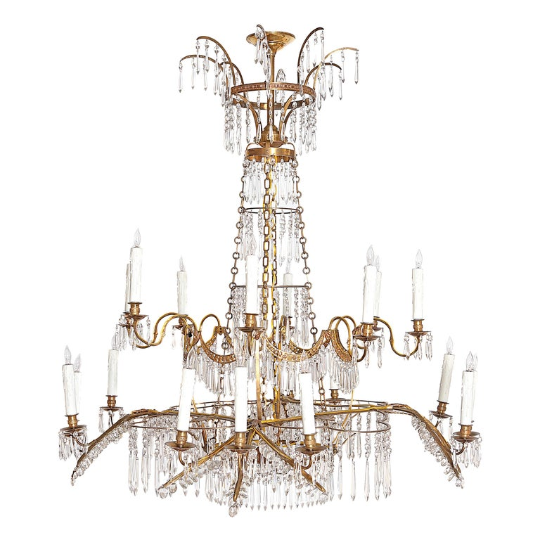 18th Century 20-Light Neoclassic Chandelier, German Probably Werner & Mieth For Sale