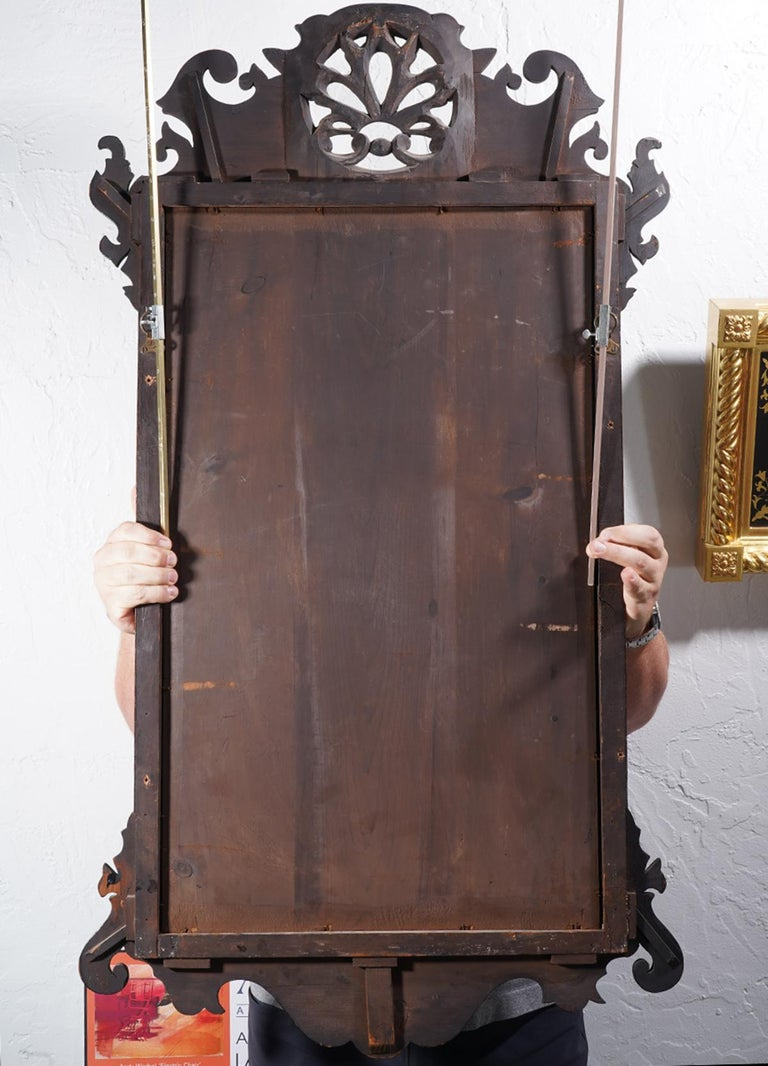18th Century English George II Fret Carved Mahogany and Parcel Gilt Wall Mirror For Sale 3