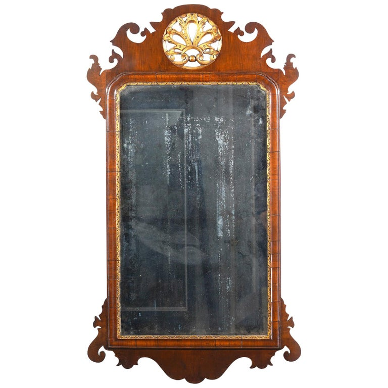 18th Century English George II Fret Carved Mahogany and Parcel Gilt Wall Mirror For Sale