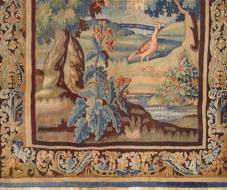 European Flemish Verdure Landscape Tapestry, with Exotic Birds in a Lush Setting For Sale