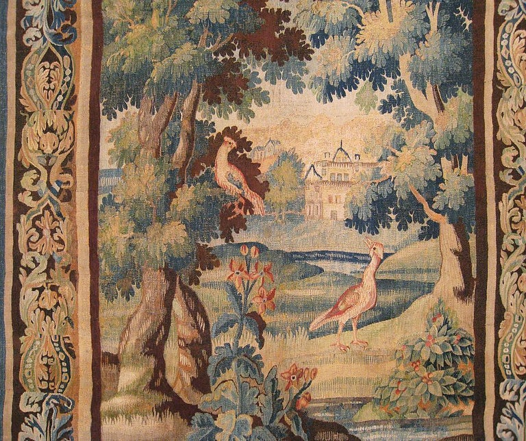 Hand-Woven Flemish Verdure Landscape Tapestry, with Exotic Birds in a Lush Setting For Sale