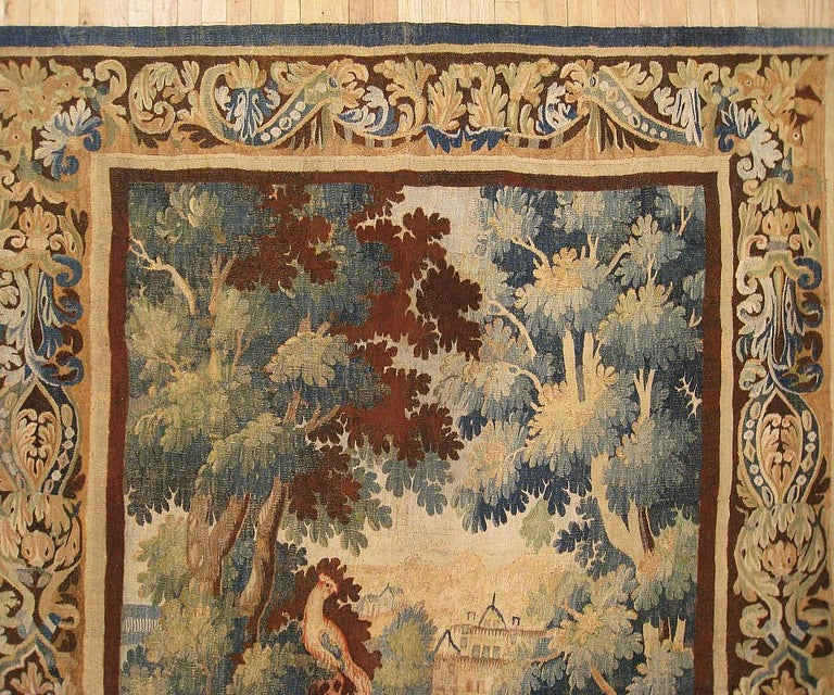 Flemish Verdure Landscape Tapestry, with Exotic Birds in a Lush Setting In Good Condition For Sale In New York, NY