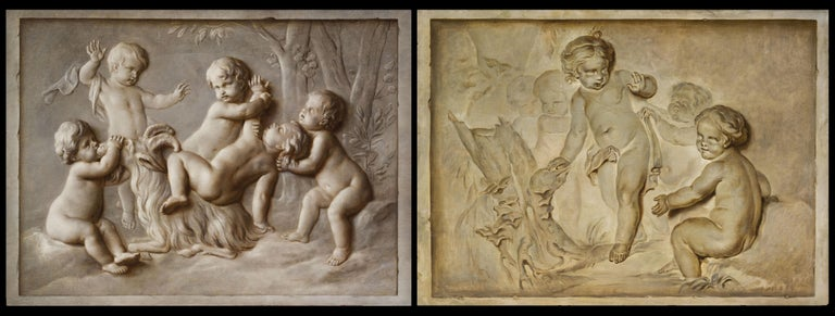 18th century, pair of French Louis XVI oil on canvas paintings with trompe l'œil, attributable to Piat Joseph Sauvage (Tournai, 1744–1818)  Size: cm H 94 x L 132 each  The pair of oil on canvas paintings represents a trompe l'oeil with putti