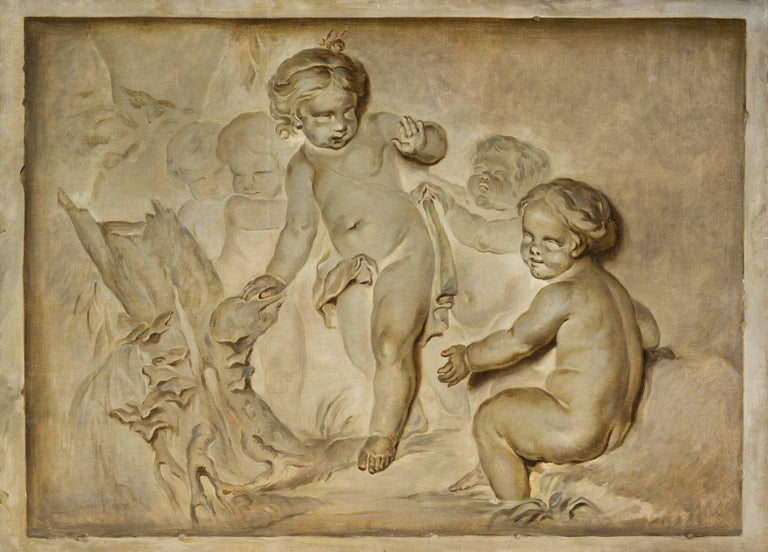 Hand-Painted French Oil on Canvas Paintings, Trompe l'œil, Attributed P. J. Sauvage For Sale