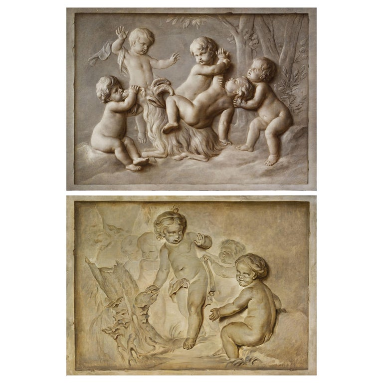 French Oil on Canvas Paintings, Trompe l'œil, Attributed P. J. Sauvage For Sale