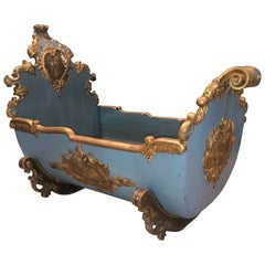 "18th Century Louis XV ""Berceau a Bascule"" Rocking Cradle ,Polychrome & Gold"
