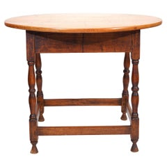 18th Century New England Oval Maple Top and Turned Legs Tavern Table
