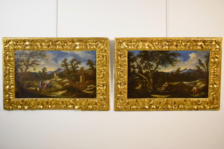 Early 18th century, pair of Italian painted, scenes of country life, attributed to Antonio Francesco Peruzzini  The fine pair oil on canvas paintings depicts scenes of rural life. Stylistically are attributable to the Italian painter Antonio