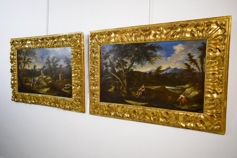 Rococo 18th Century Pair of Italian Scenes of Country Life, Antonio Francesco Peruzzini For Sale