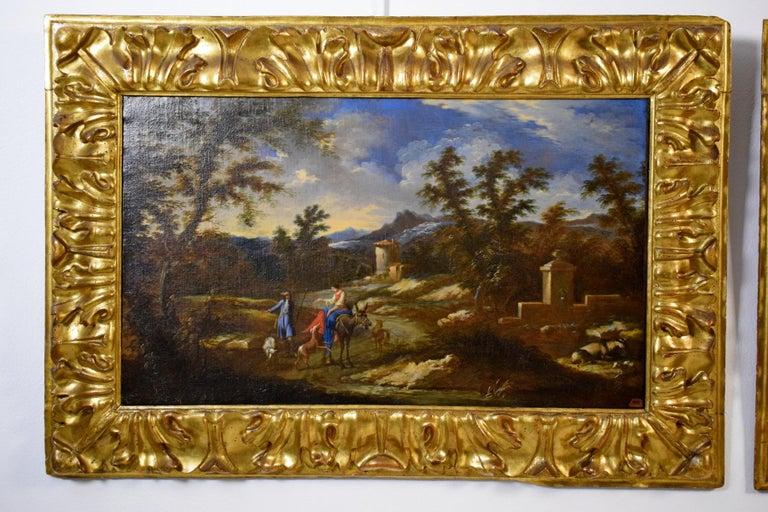 Hand-Carved 18th Century Pair of Italian Scenes of Country Life, Antonio Francesco Peruzzini For Sale