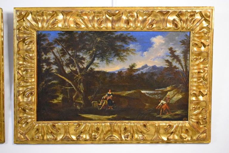 18th Century Pair of Italian Scenes of Country Life, Antonio Francesco Peruzzini In Good Condition For Sale In , IT