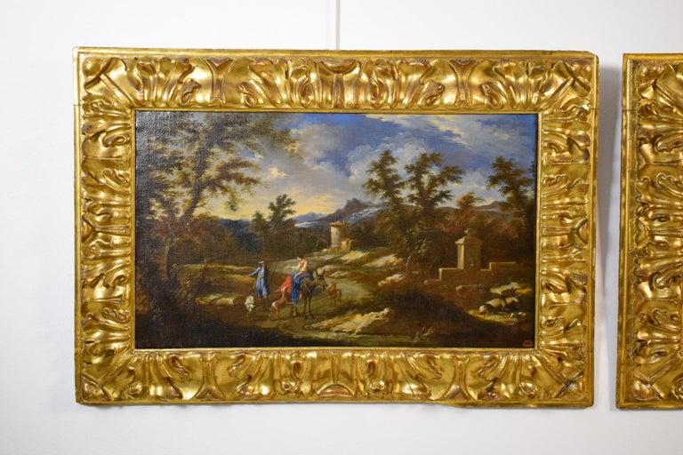 Canvas 18th Century Pair of Italian Scenes of Country Life, Antonio Francesco Peruzzini For Sale